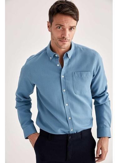 DeFacto Slim Fit Uzun Kollu Cepli Gömlek Mavi